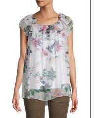 le marais women's floral ruffle silk top - white - size l