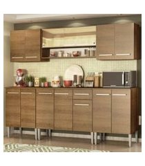 cozinha completa madesa emilly smile com balcão e armário vidro reflex rustic rustic