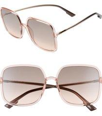 women's dior stellair 59mm square sunglasses - coral/ grey fuschia
