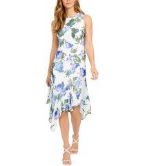 calvin klein floral-print asymmetrical-hem midi dress