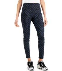 inc plaid ponte-knit leggings, created for macy's