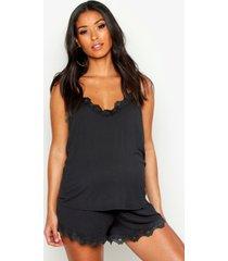 zwangerschap pyjama set met shorts en kanten zoom, zwart