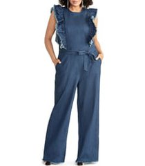 plus size women's rachel rachel roy nikita ruffle denim jumpsuit, size 22w - blue