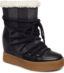 trish check wool shoes boots ankle boots ankle boots flat heel svart shoe the bear
