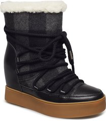 trish check wool shoes boots ankle boots ankle boots with heel svart shoe the bear