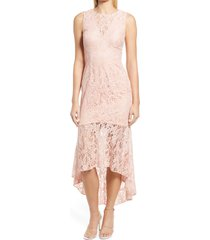 vince camuto lace high-low cocktail dress, size 4 in apricot at nordstrom