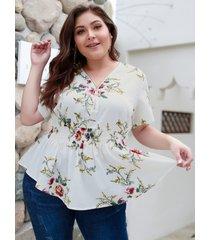 blusa blanca con cremallera y cuello en v con estampado floral al azar en talla grande
