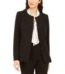 karl lagerfeld paris button-front crepe jacket