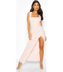 petite square neck split maxi dress, blush