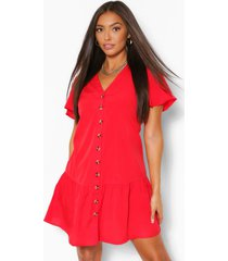 button down frill hem shift dress, red