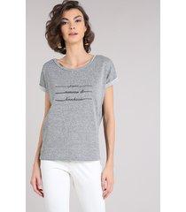 blusa feminina em moletom com lurex manga curta decote redondo cinza mescla