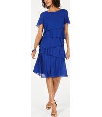 jessica howard petite tiered-chiffon dress