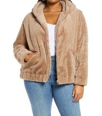 plus size women's blanknyc faux fur hooded jacket, size 1x - brown