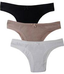 kit 3 calcinhas tangas femininas com algodão