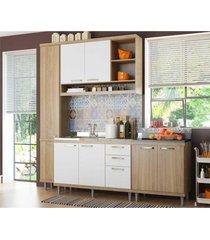 cozinha compacta completa multimã³veis com 4 peã§as sicãlia 5812 argila/branco - bege/incolor - dafiti