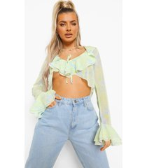 chiffon top met strik, ruches en opdruk, blue