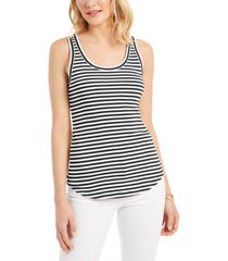 charter club supima cotton knit-stripe tank, created for macy's