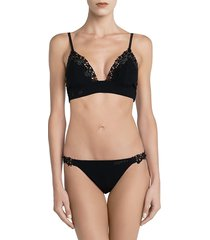 la perla women's macrame stretch-silk brazilian briefs - black - size xs