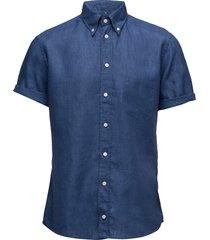 hoxton-green-slim fit overhemd met korte mouwen blauw eton