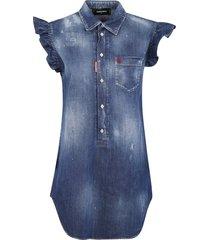 short ruffled sleeveless denim dress