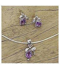amethyst jewelry set, 'mauve blushing leaves' (india)