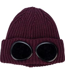 mens knitted goggle beanie