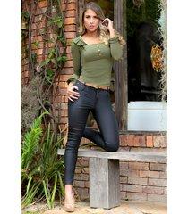 pantalón efecto cuero outfit 1087 para mujer negro