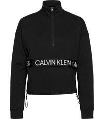 1/4 pullover sweat-shirt tröja svart calvin klein performance