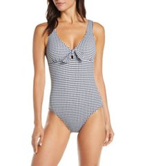 women's tommy bahama gingham reversible one-piece swimsuit