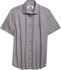 joseph abboud gray & burgundy circle short sleeve sport shirt