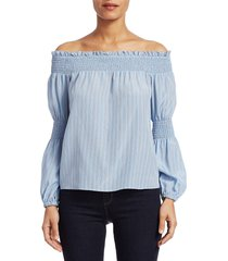 l'agence women's mona stripe silk off-the-shoulder blouse - sky blue stripe - size xs