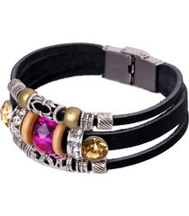 retro braccialetto in pelle vera con perline rose regalo per donna