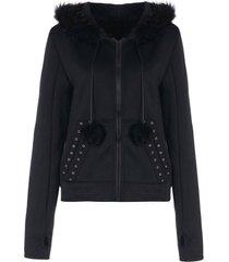 faux fur insert hooded zippered hoodie