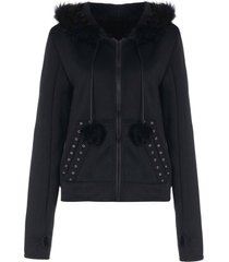 faux fur insert hooded zippered hoodie