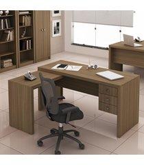 mesa para escritório 3 gavetas  amendoa me4106 - tecno mobili