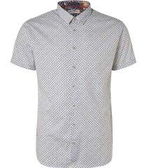 no excess all over printed short sleeve shirt indigo blue