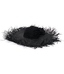 giorgio armani woven sun hat - black