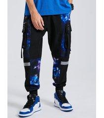 hombre galaxy printed ribbons diseño cordón carga pantalones