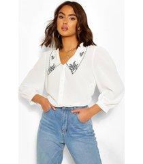 geborduurd plunge overhemd van een katoenmix, wit