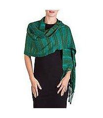 rayon shawl, 'jade path' (guatemala)