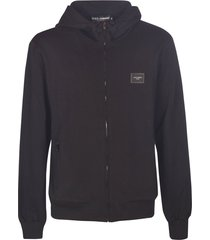 dolce & gabbana logo patched zip hoodie