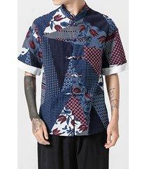 hombres de lino de estilo chino camisa con botón para arriba traje de tang retro suelto impreso camisa