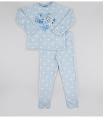 pijama de fleece infantil frozen estampado manga longa azul claro