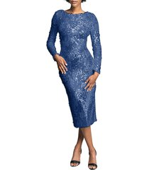 dress the population susanna sequin long sleeve body-con dress, size x-small in mineral blue at nordstrom