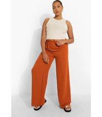 plus premium wide leg broek met textuur, rust