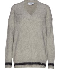 brushed tipping v-nk sweater gebreide trui grijs calvin klein