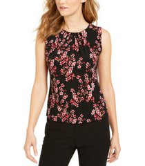 calvin klein floral-print pleated top