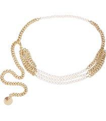 b-low the belt pearl-embellished chain belt - gold