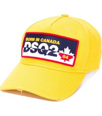 dsquared2 logo embroidered cap - yellow