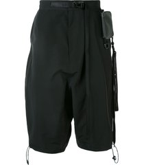 niløs side pocket detail belted shorts - black